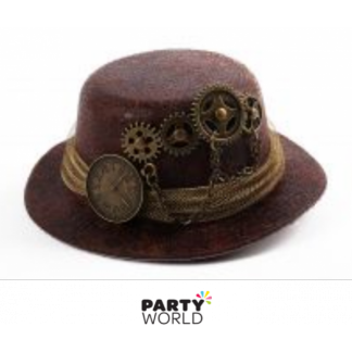 Steampunk Mini Hat on a Clip Brown (13cm)