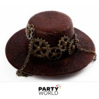 Steampunk Mini Hat on a Clip Brown (10cm)