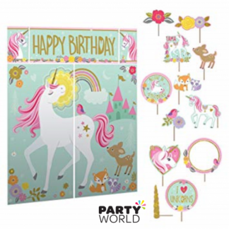 Unicorn Magical Scene Setter Backdrop & Photo Props (12)