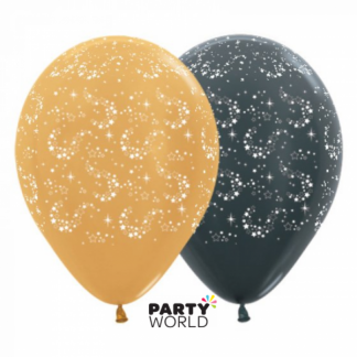 Sparkling Stars Latex Balloons Black & Gold (6)
