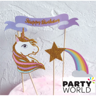 Unicorn & Rainbow Glittery Cake Topper
