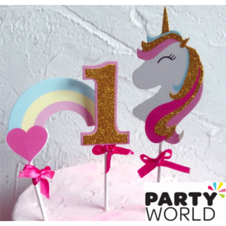1st Birthday Unicorn & Rainbow Glittery Cake Topper
