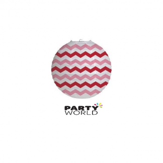 Red, Pink and White Chevron Paper Lantern 30.5cm