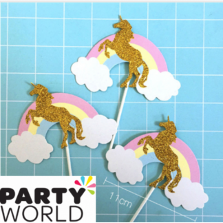Unicorn & Rainbow Glittery Cake Toppers (3)