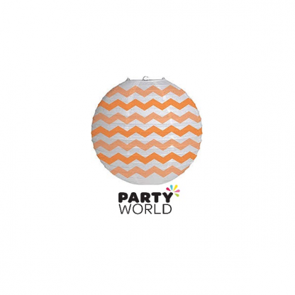 Coral, Orange & White Chevron Paper Lantern 30.5cm