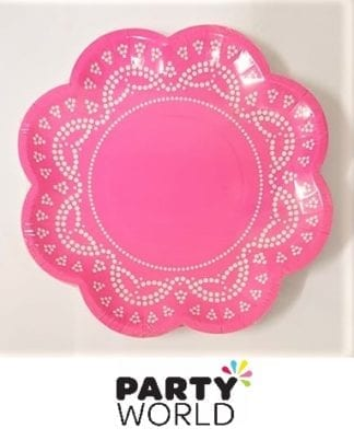 pink flower shaped plates