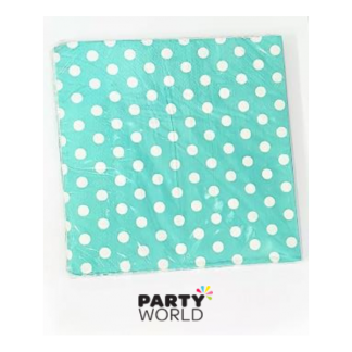 Aqua Blue Polka Dot Luncheon Napkins (20)