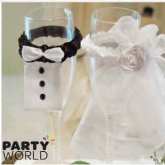 Bridal Veil & Groom Tux Wine Glass Decorations