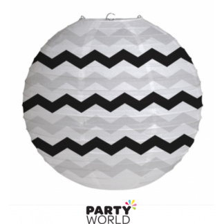 Black, Grey and White Chevron Paper Lantern 30.5cm