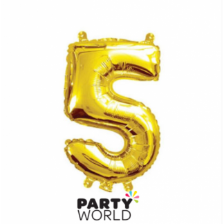 Gold Foil Number Balloon (35cm)14in -No. 5 (fill with air only)