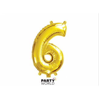 Gold Foil Number Balloon (35cm)14in -No. 6 (fill with air only)