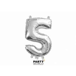 Silver Foil Number Balloon(35cm) 14in -No. 5 (fill with air only)