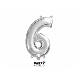 Silver Foil Number Balloon(35cm) 14in -No. 6 (fill with air only)