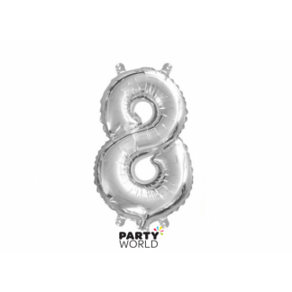 Silver Foil Number Balloon(35cm) 14in -No. 8 (fill with air only)