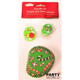 Christmas Candy Cane Cupcake Cases & Toppers (24)