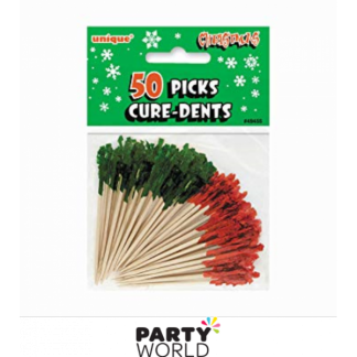 Christmas Frilled Toothpicks Red & Green (50)