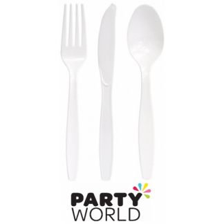 White Plastic Cutlery Set (24)