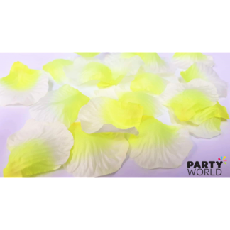 Artificial Silk Rose Petal Scatters - Neon Yellow Fade (*100)