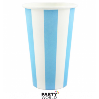 Blue Stripe Paper Milkshake Cups 470ml (8)