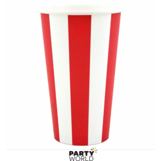 Red Stripe Paper Milkshake Cups 470ml (8)
