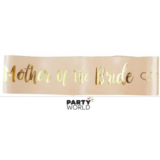 Mother of the Bride Sash - Gold on Peach With Hearts