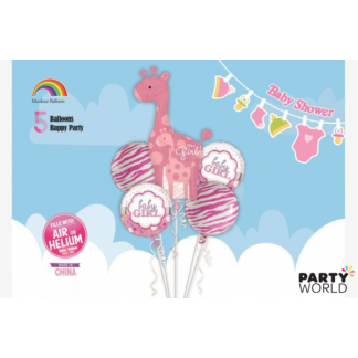 Giant Pink Giraffe It's A Girl Balloon Set (5pcs)