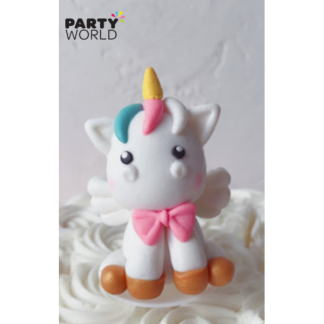 Unicorn Angel Cake Topper With Pink Bow 6 cm