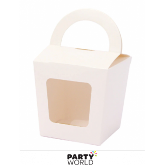 Single Cupcake Box With Handle - White