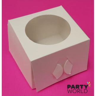 Single Cupcake Box White