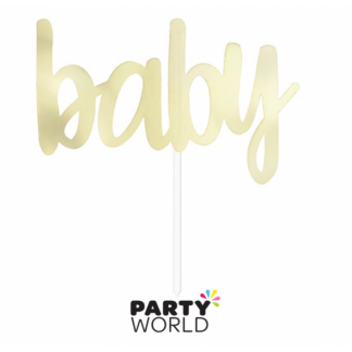 Baby Cardboard Cake Topper - Soft Gold