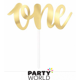 One Cardboard Cake Topper - Soft Gold