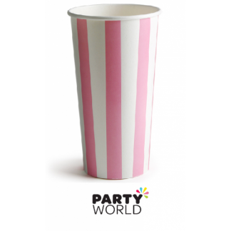 Pink Stripe Paper Milkshake Cups 470ml (8)