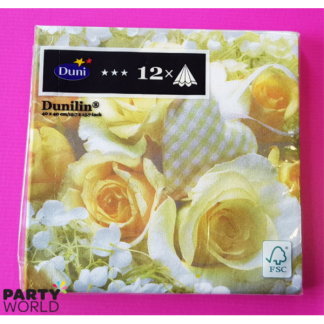 White Charm Roses Dinner Napkins (12)