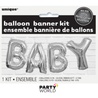 Baby Foil Balloon Banner Kit - Silver - air fill only