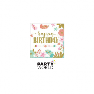 Boho Happy Birthday Beverage Napkins (16)