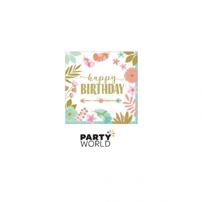 Boho Happy Birthday Luncheon Napkins (16)