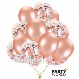 Rose Gold & Rose Gold Confetti Latex Balloons (8)
