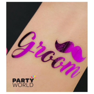 Groom Hot Pink Temporary Tattoo