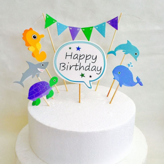 Happy Birthday Sea Creature Cake Toppers