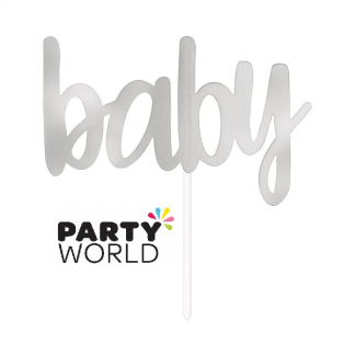 "Cake Topper Silver Foil Baby (6"")"
