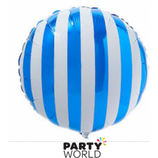 Royal Blue and White Stripe Foil Balloon (18in)
