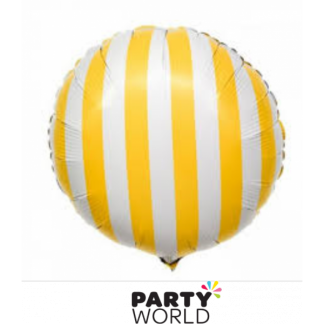Yellow and White Stripe Foil Balloon (18in)