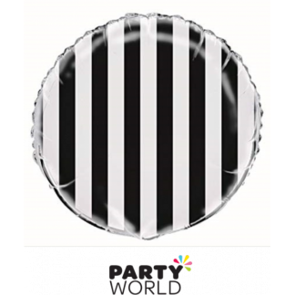 Black and White Stripe Foil Balloon (18in)