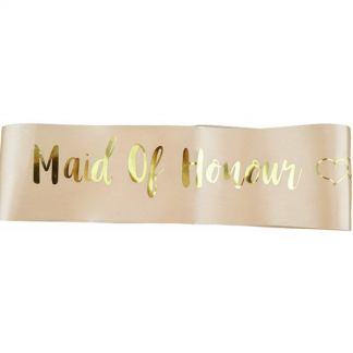 Maid of Honour Sash - Gold on Peach