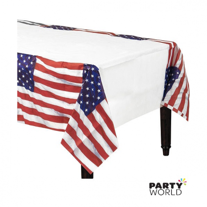 Flying Colors American Flag Plastic Tablecover