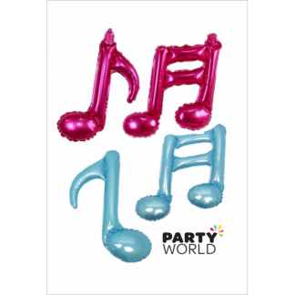 Music Note Foil Balloons For Air Filling Blue & Pink (4)