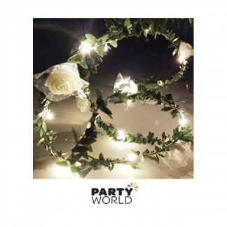 White Roses & Leaves LED Light Garland (1m)