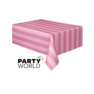 Pink Striped Plastic Tablecover