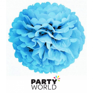 Blue Paper 25cm Fluffy Decoration