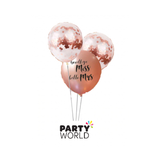 Goodbye Miss Hello Mrs Rose Gold Latex Balloons & Rose Gold Confetti (4)